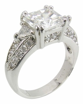 LaTigra 2.5 Carat Princess Cut Trillion Pave Cubic Zirconia Engagement Ring