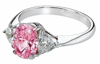 Legally Blonde 2 Style 2.5 Carat Pink Oval Cubic Zirconia Trillion Solitaire Engagement Ring