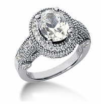 Legend 1.5 Carat Oval Cubic Zirconia Pave Halo Cathedral Solitaire Engagement Ring