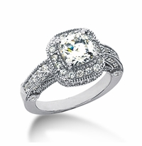 Legend 1.5 Carat Princess Cut Cubic Zirconia Pave Halo Cathedral Solitaire Engagement Ring