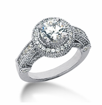 Legend 1.5 Carat Round Cubic Zirconia Pave Halo Cathedral Solitaire Engagement Ring