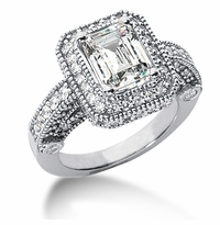 Legend 2.5 Carat Emerald Cut Cubic Zirconia Pave Halo Cathedral Solitaire Engagement Ring