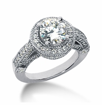Legend 2 Carat Round Cubic Zirconia Pave Halo Cathedral Solitaire Engagement Ring