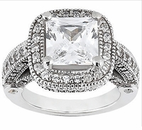 Legend 4 Carat Princess Cut Cubic Zirconia Pave Halo Cathedral Solitaire Engagement Ring
