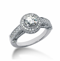 Legend .50 Carat Round Cubic Zirconia Pave Halo Cathedral Solitaire Engagement Ring