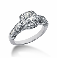 Legend .75 Carat Princess Cut Cubic Zirconia Pave Halo Cathedral Solitaire Engagement Ring