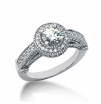 Legend .75 Carat Round Cubic Zirconia Pave Halo Cathedral Solitaire Engagement Ring