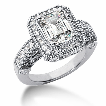 Legend Emerald Cut Cubic Zirconia Pave Halo Cathedral Solitaire Engagement Ring Series