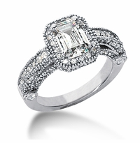 Legend 1 Carat Emerald Cut Cubic Zirconia Pave Halo Cathedral Solitaire Engagement Ring