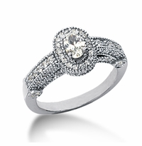 Legend .25 Carat Oval Cubic Zirconia Pave Halo Cathedral Solitaire Engagement Ring