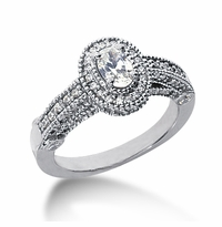 Legend .50 Carat Oval Cubic Zirconia Pave Halo Cathedral Solitaire Engagement Ring