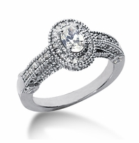 Legend .75 Carat Oval Cubic Zirconia Pave Halo Cathedral Solitaire Engagement Ring