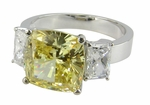 Lena 5.5 Carat Cushion Cut Cubic Zirconia Three Stone Ring with Emerald Radiant Cut Side Stones