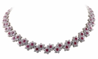 Letizia Flower Floral Round Halo Statement Necklace