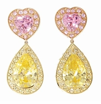 Lianna Pink Heart Canary Pear Cubic Zirconia Halo Drop Earrings