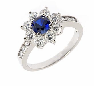 Lillith 50 carat man made sapphire round halo cluster for Man made sapphire jewelry