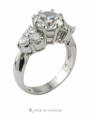 London 2 Carat Round Cubic Zirconia European Solitaire Engagement Ring