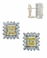 Lorenza 1 Carat Emerald Cut Cubic Zirconia Halo Cluster Earrings