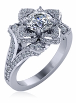 Lotus Flower 1 Carat Round Split Shank Pave Solitaire Engagement Ring