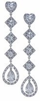 Lovedale 2 Carat Pear Heart Princess Cut Cubic Zirconia Halo Drop Earrings