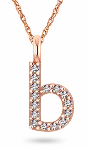 Lower Case Initial Monogram Block Letter Pave Set Cubic