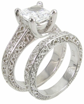Luccia 1.5 Carat Engraved Princess Cut Cubic Zirconia Trellis Bridal Set with Matching Band