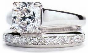 Luccia Trellis Princess Cut Cubic Zirconia Solitaire Eternity Band Bridal Set