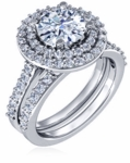Lunette 1.5 Carat Round Cubic Zirconia Double Halo Pave Cathedral Wedding Set