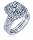 Lunette 2.5 Carat Elongated Cushion Cut Cubic Zirconia Double Halo Pave Cathedral Wedding Set