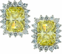 Luxora 4 Carat Cubic Zirconia Emerald Radiant Cut Cluster Earrings
