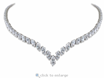 Madison Marquise Cubic Zirconia V Pointed Statement Tennis Necklace