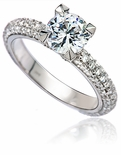 Maiven 1.25 Carat Round Cubic Zirconia Micro Pave Solitaire Engagement Ring