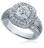Majestic 2 Carat Round Cubic Zirconia Halo Pave Estate Style Milgrain Solitaire Engagement Ring