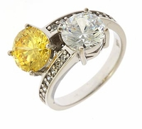 Malina Two Stone 2 Carat Each Round Bypass Pave Solitaire Engagement Ring