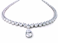 Mancini 6 Carat Cubic Zirconia Pear Tear Drop Statement Tennis Necklace