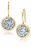 Manhattan Shepherd Hook Bezel Set Cubic Zirconia Round Drop Earrings