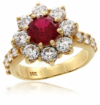 Marjory 1.25 Carat Man Made Ruby Gemstone Cluster Cubic Zirconia Ring