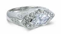 Marquesa 2 Carat Marquise Cubic Zirconia Horizontal Set Pave Antique Estate Style Ring