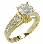Marteen 1.25 Carat Round and Channel Set Round Cathedral Cubic Zirconia Solitaire Engagement Ring