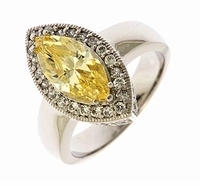 Martinique 3 Carat Marquise Lab Created Canary Cubic Zirconia Halo Art Deco Ring