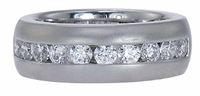 Matieu Channel Set Cubic Zirconia Round Matte Brushed Finish Anniversary Band