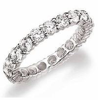 Medium 3.5mm Each Round Cubic Zirconia Shared Prong Set Eternity Band