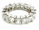 Medium .35 Carat Each Cubic Zirconia Princess Cut Shared Prong 14K White Gold Eternity Band Size 3.5