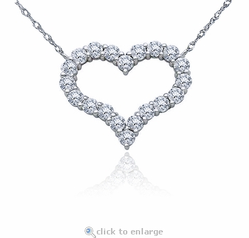 Medium Open Heart Prong Set Round Cubic Zirconia Necklace
