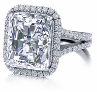 Milano 7 Carat Emerald Cut Micro Pave Halo Engagement Ring