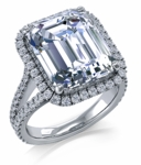 Milano 7 Carat Emerald Step Cut Micro Pave Halo Engagement Ring