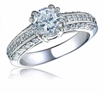 Moderne 1 Carat Round Cubic Zirconia Three Row Pave Solitaire Engagement Ring