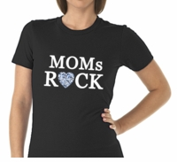 Moms Rock Diamond Heart T-Shirt