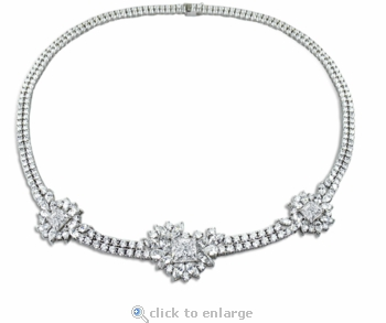 Monacco Princess Cut Marquise Round Cluster Statement Necklace