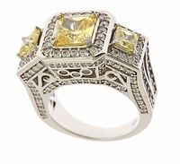 Monte Carlo 1.5 Carat Princess Cut Cubic Zirconia Three Stone Estate Antique Halo Ring